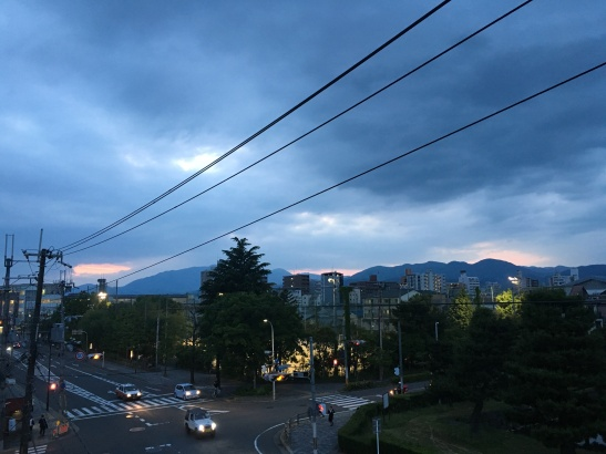 The location of Kyoto was chosen because of its perfect fit with the requirements of Feng Shui, a system intimately related to energy and the elements. The relationship between the surrounding mountains and water bodies were a key part of the design. Today the mountains are harder to see and energy is being transported around the city in aerial power lines.