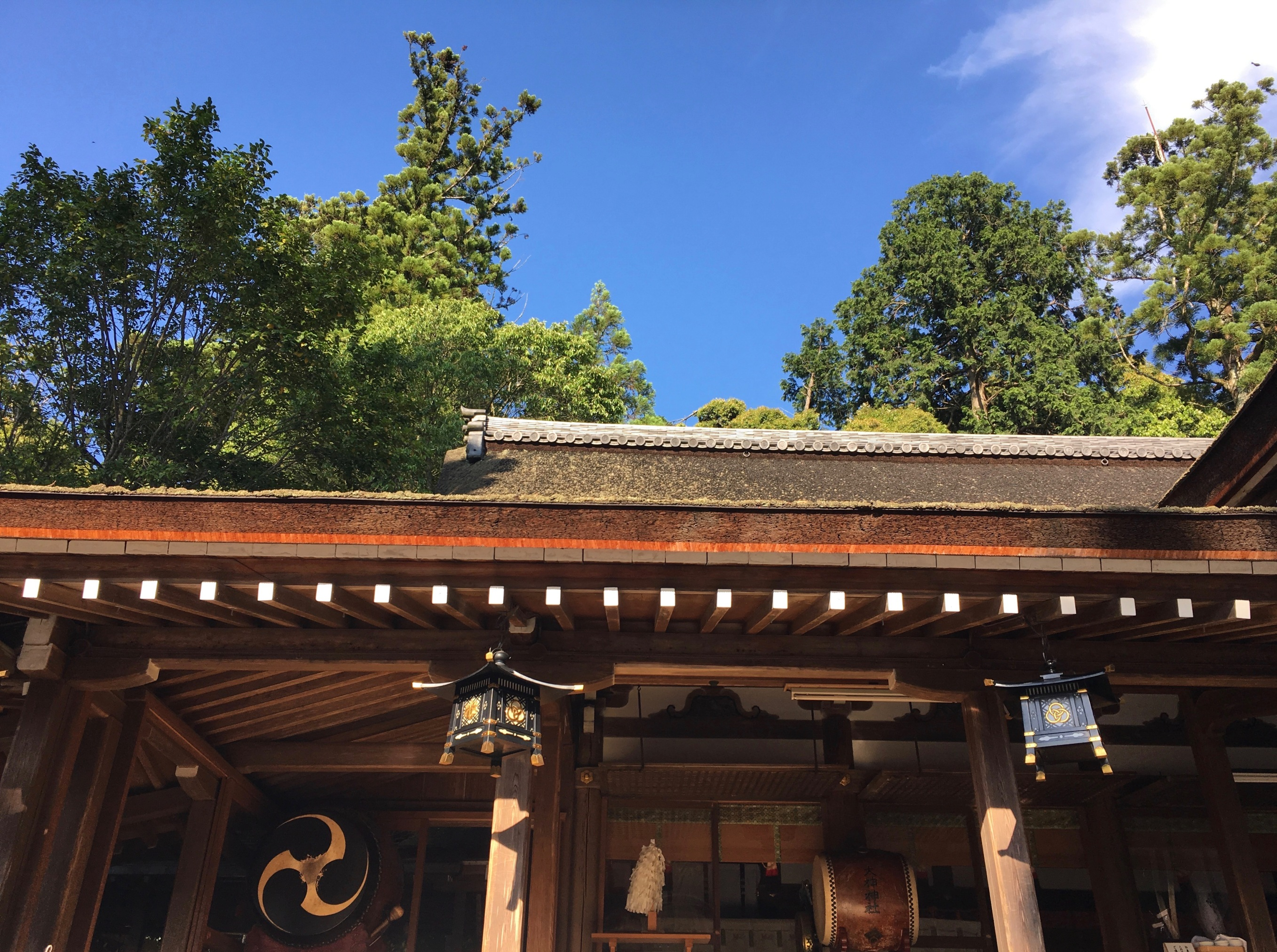 Two taiko (drums) stand proud at Omiwa Shrine in Nara Prefecture. Drums are used in both Shinto and Buddhist rituals and festivals. I have heard the taiko referred to as the voice of the Buddha.