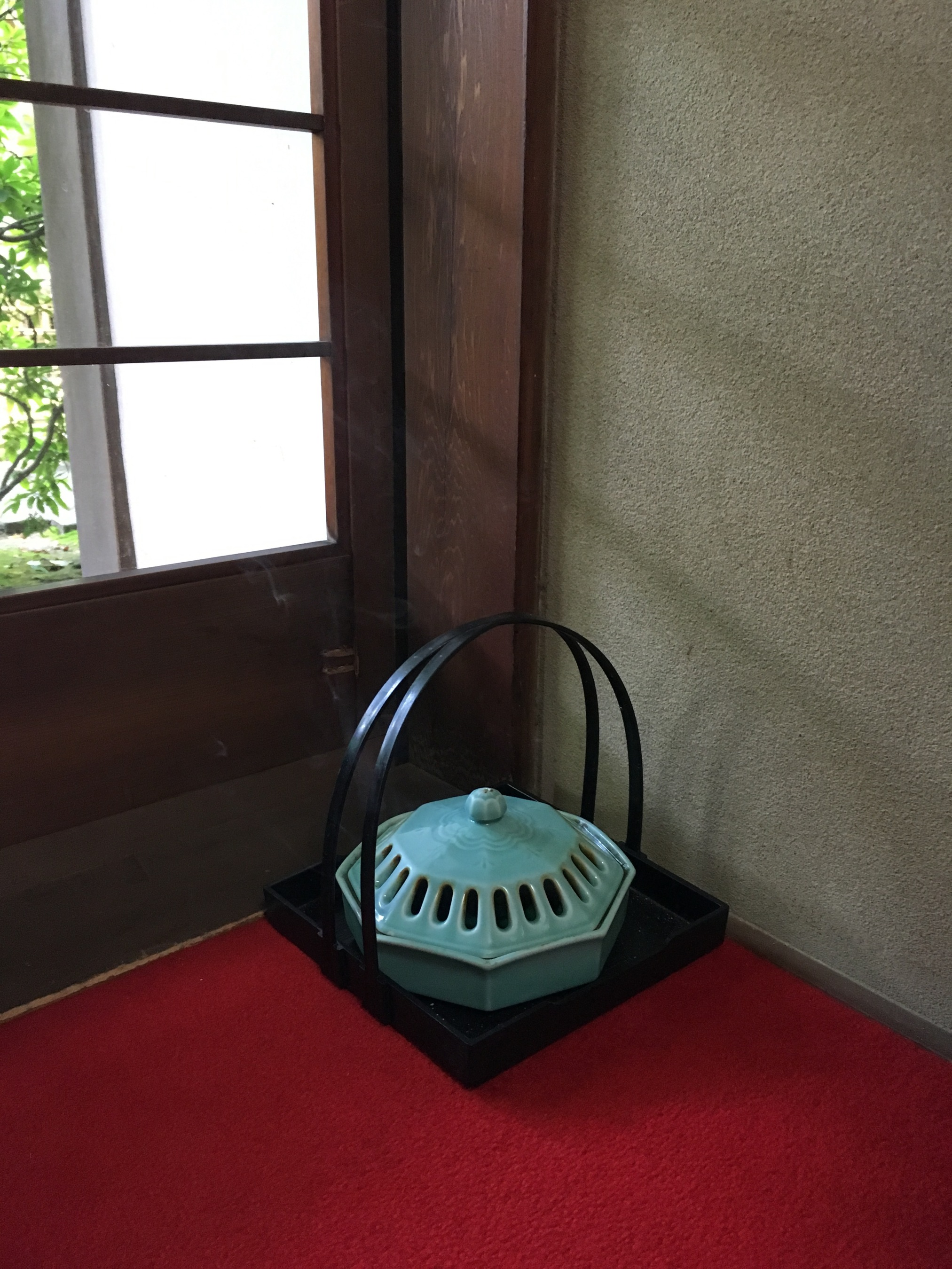 There is a 'Way of Incense (Fragrance)' just as there is a 'Way of Tea'. Kodo is not as well known as Chado. Indeed, when you type Kodo into an internet search the taiko group comes up! This incense burner is in the Isuzen restaurant at Daitoku-ji temple. Incense is also prominent at Buddhist Temples where it is used for prayer and purification. Kodo, like Chado, has a set of codified ways of handling incense. It is something I would like to explore further.