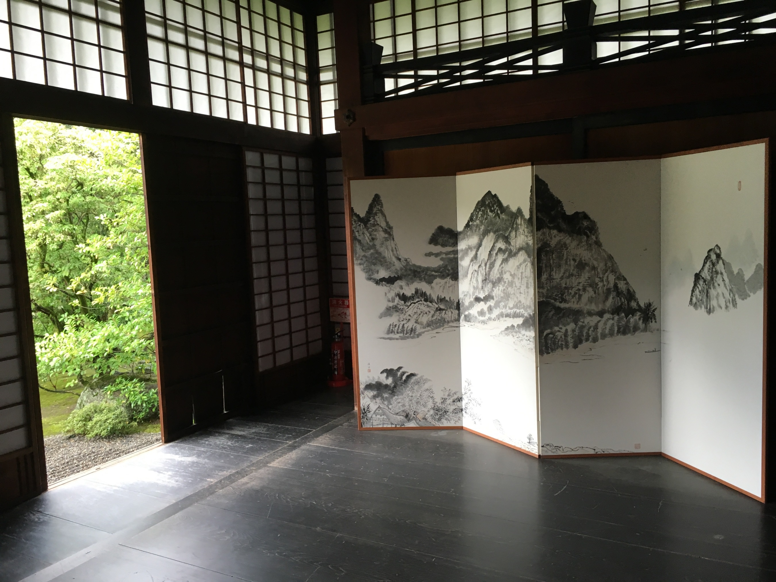 Another connection to water that I am pondering as I travel around is the Japanese art of Sumi-e - ink wash painting with black ink. This example is at Shunkoin Temple. The artist captures the spirit of the scene through the careful application of water in different shades of black. It is an art that would take years to master.