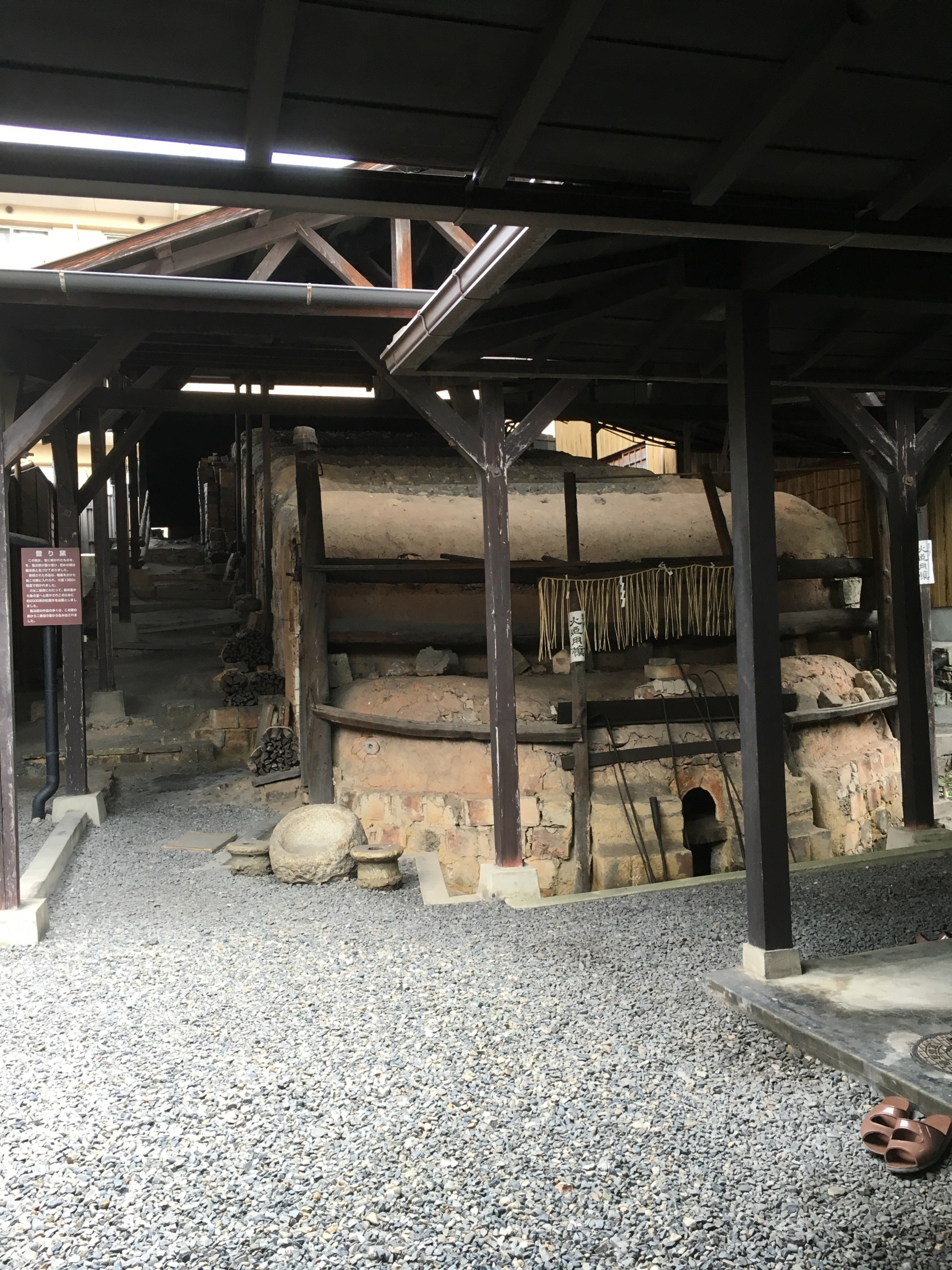 Also seen at the Kawai Kanjiro Museum was this multi-chambered Noborigama kiln, last fired up in 1971. The piles of wood used for the kiln can be seen along the side. This would have only been a small proportion of the amount used to get the kiln up to 1200 degrees celsius. I would love to see one in action one day.