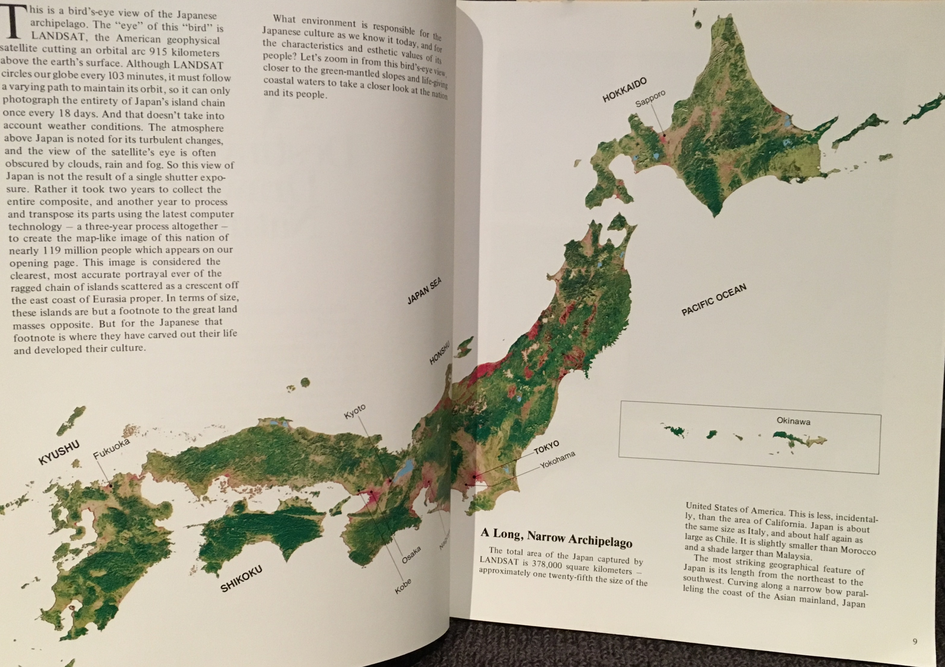 "The LANDSAT image of Japan proudly presented in the book ""The Dawns of Tradition"". the image took three years to create. Creating a cloud-free image of Japan was no easy task with the technology available at the time."