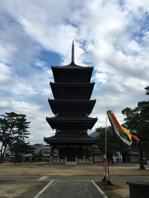 The five storied pagoda was destroyed by fire twice. The current version was completed in 1902. The five stories represent the five elements, as do the five colours in the banners. These are explained later in the post.