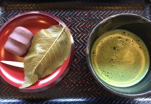 Matcha at Arashiyama after enjoying a boat ride on the Horikawa River from Kameoka. two large wets were served with the tea. The one wrapped in cherry leaves was my second favourite on the tour, after the Persimmon.