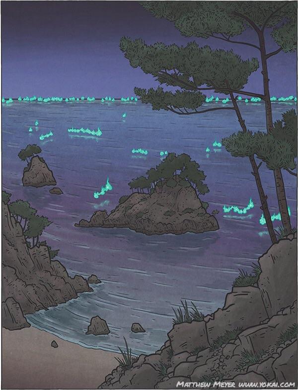 This beautiful woodblock print illustratesthe Shuranui off the west coast of Kyushu in Kumamoto prefecture.