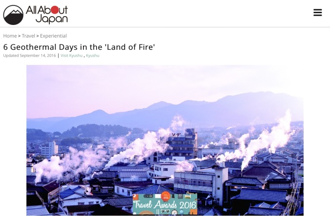 Another promotion for the Land of Fire. This time covering Kyushu itself. The focus on geothermal activity, which includes hot springs and volcanoes, gives the impression that the 'fire' in question comes from within the earth.