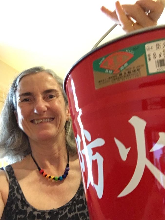 The red Kyoto fire buckets are a feature of my post 'Be careful of fire'. In October I bought one of the buckets to take home. I wonder how many other people have them in Australia?!