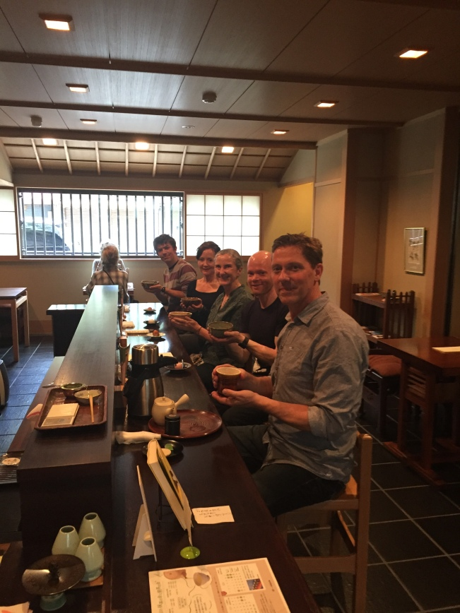 Having tea at Ippodo in Kyoto. From the front, Allan, James, myself, Corinne and Michael. James and Michael are Allan's tea students. Corinne and I joined the tour to learn more about tea in Japan. A goal well met.