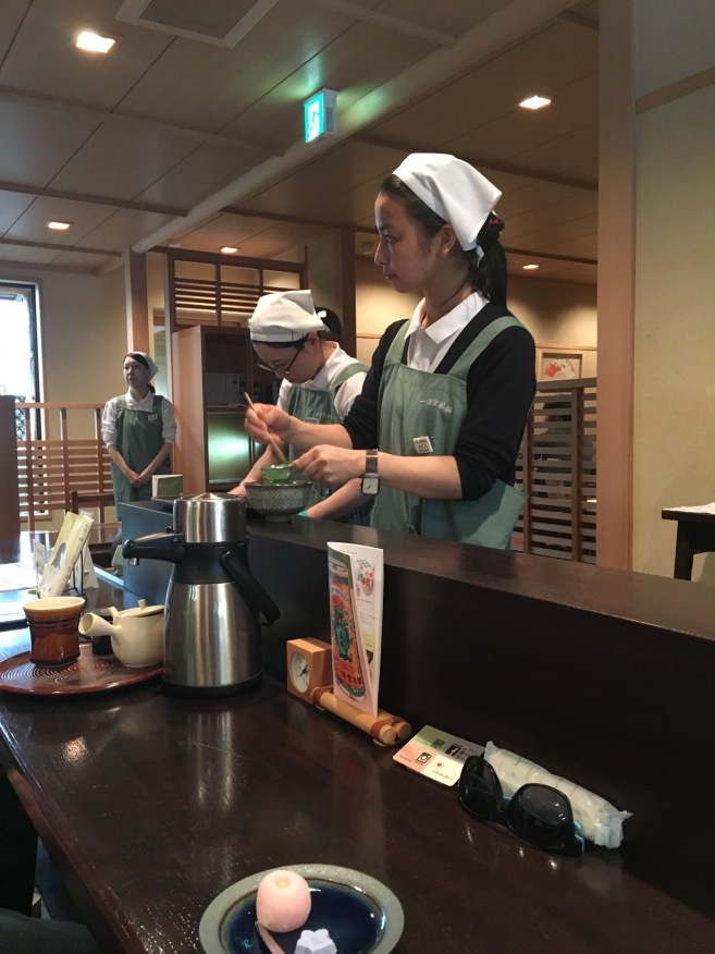 Tea being made at the famous Ippodo tea shop in Kyoto. You can try both koicha and ucacha in the one sitting. It is worth the experience.