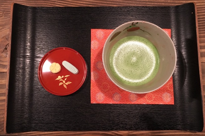 Here is the matcha tea we sample in Osaka from above. The tea sweets are small beautiful bites of sugar shaped to represent nature. The diversity of tea sweets we had during our tour was impressive.