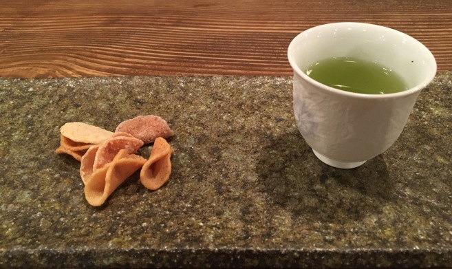 The Sencha we had at the teahouse in Osaka with another delicious sugary sweet. The sweetness compliments the bitterness of the tea.